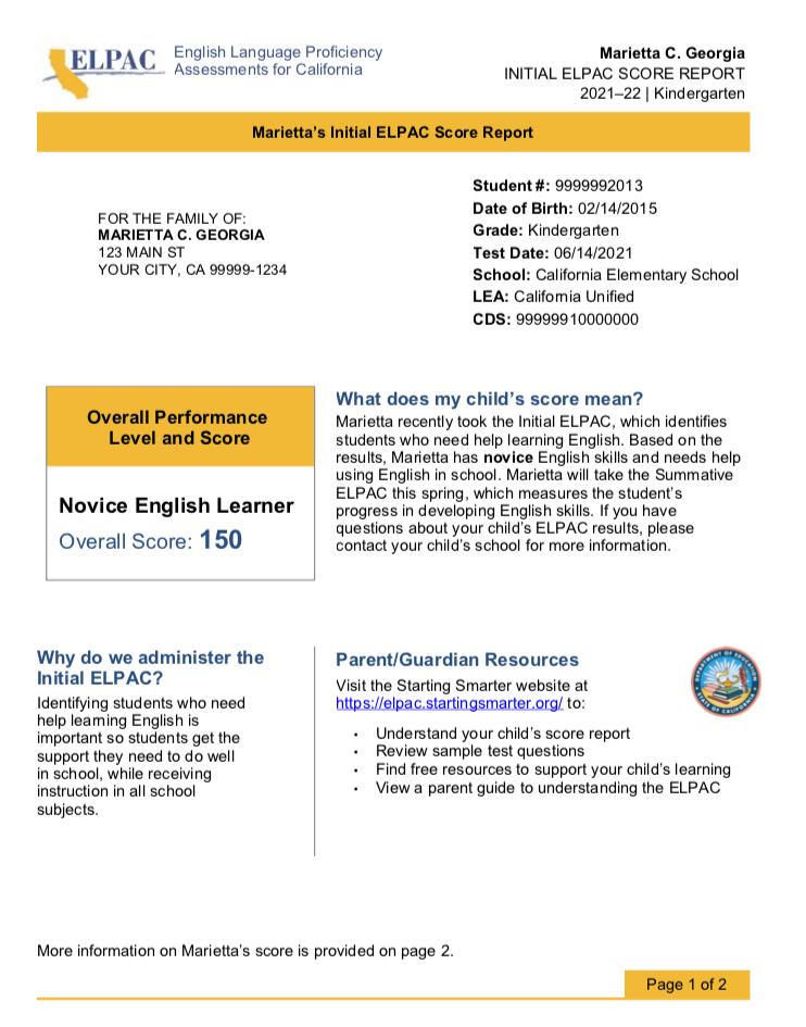 Screenshot of Initial ELPAC student score report