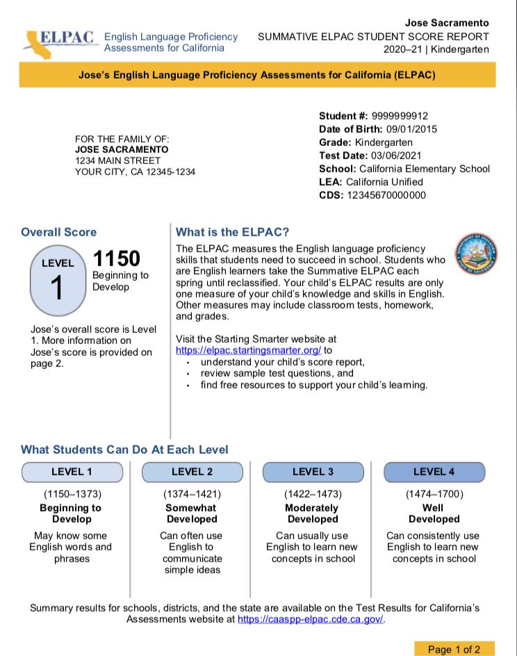 Screenshot of Summative ELPAC student score report